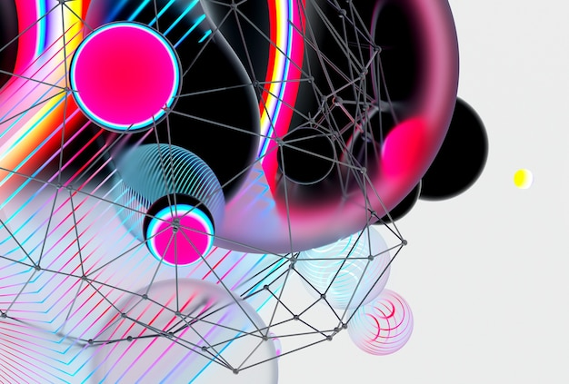 3d render da arte abstrata de fundo 3d com bolhas de esferas de meta-bolas voadoras surreais