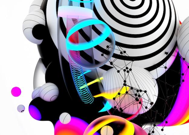 3d render da arte abstrata de fundo 3d com bolhas de esferas de meta-bolas voadoras surreal ou balões de festa festiva