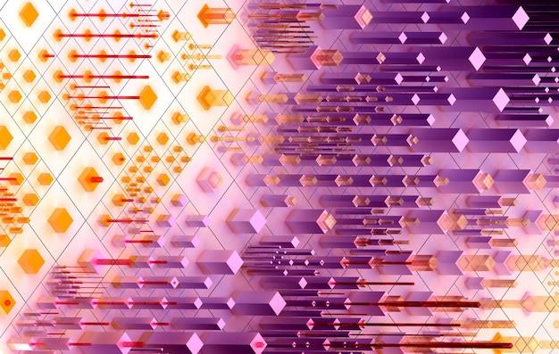 3d render da arte abstrata de fundo surreal 3d baseado em pequenas caixas grandes e contadas ou cubos