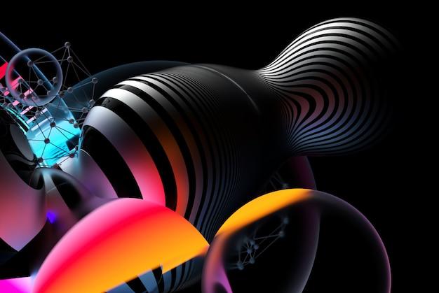 3d render da arte abstrata fundo 3d com cubo grande de bolas meta voadoras surreais ou objetos de vidro de festa festiva com padrão de linhas paralelas na superfície com luzes de cor laranja e azul neon