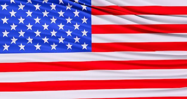 3d render da bandeira americana para o memorial day, 4 de julho, dia da independência.