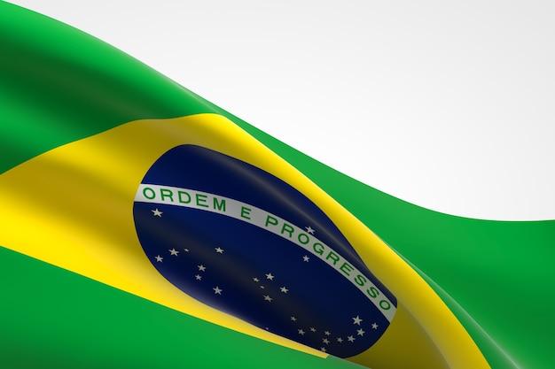 3d render da bandeira brasileira acenando.