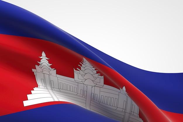 3d render da bandeira cambojana acenando.