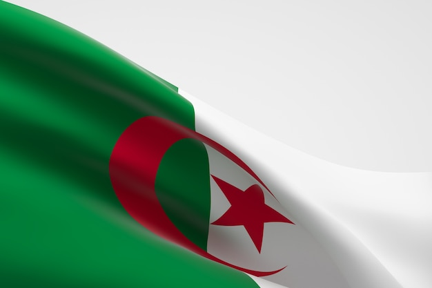 3d render da bandeira da argélia acenando. Foto Premium