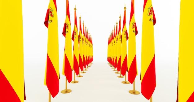 3d render da bandeira da espanha. bandeira da espanha. bandeira espanhola incrível isolada