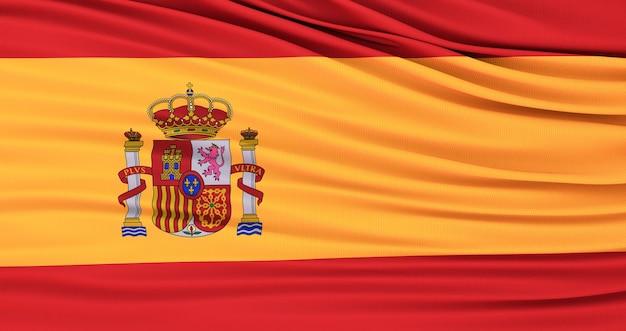 3d render da bandeira de espanha. bandeira da espanha. acenando incrível bandeira espanhola.