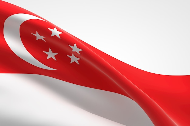 3d render da bandeira de singapura acenando.