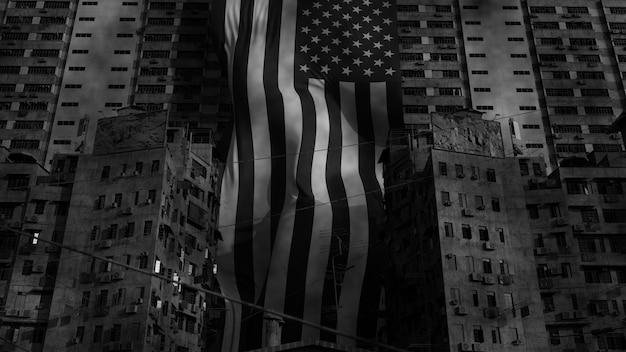 3d render da bandeira dos eua em favelas. conceito de conflito de pobreza e patriotismo. preto e branco monocromático.