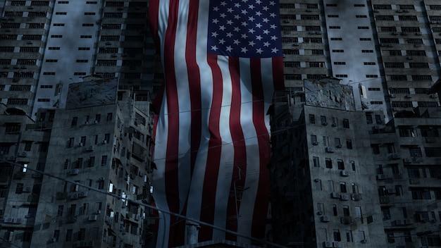 3d render da bandeira dos eua em favelas. conceito de conflito de pobreza e patriotismo.