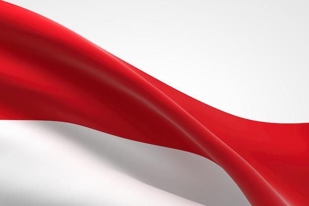 3d render da bandeira indonésia acenando.