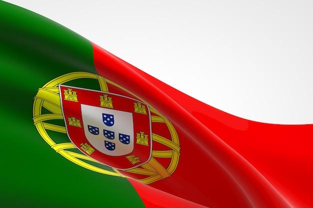 3d render da bandeira portuguesa acenando.