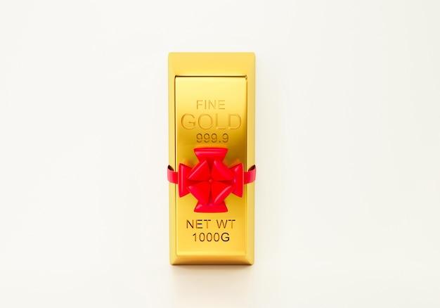 3d render da barra de ouro com fita vermelha
