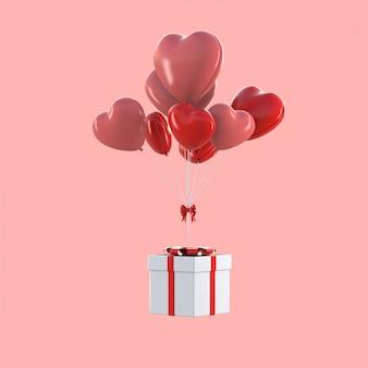 3d render da caixa de presente flutuando com balões em forma de coração, conceito de dia dos namorados