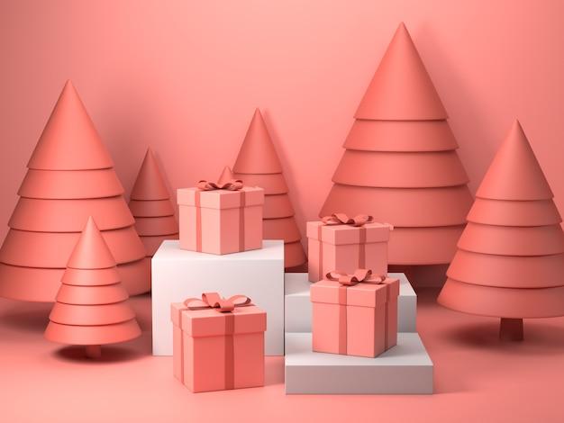 3d render da caixa de presente rosa no dia de natal