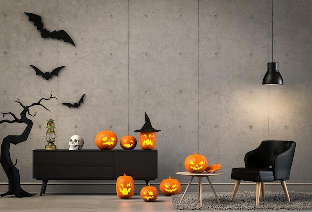 3d render da festa de halloween na sala de estar e abóboras