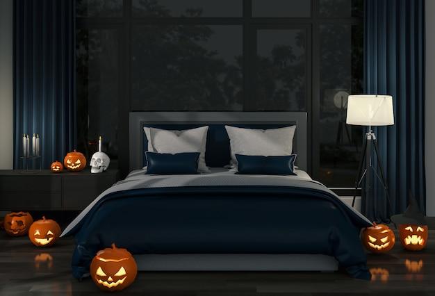3d render da festa de halloween no quarto e abóboras