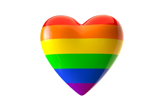3d render da forma de coração colorido do arco-íris lgbt isolada no fundo branco