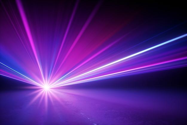 3d render da iluminação do palco brilhando os raios estelares com efeito de reflexo de lente