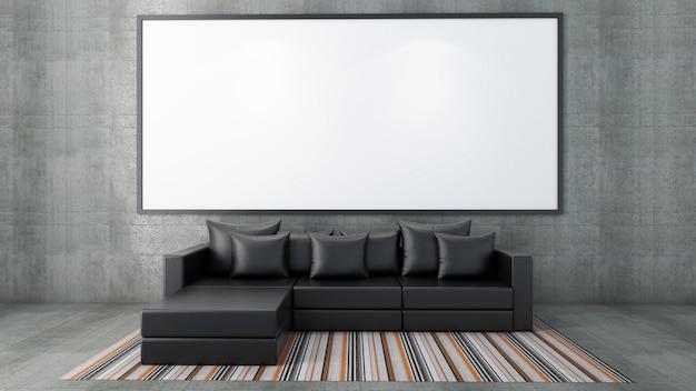 3d render da maquete da sala interior, sofá e tapete