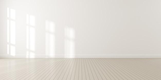 3d render da moderna sala vazia com piso de madeira e grande parede branca e lisa.
