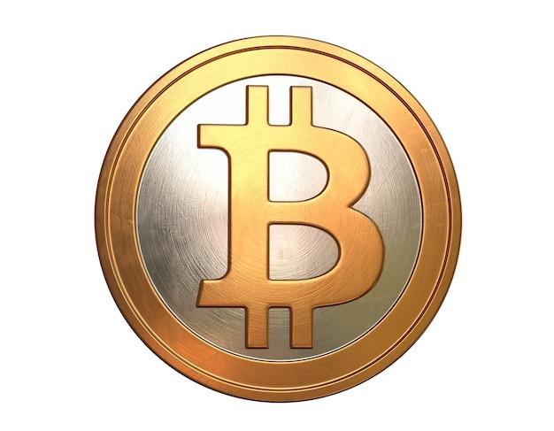 3d render da parede isolada de bitcoin.