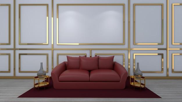 3d render da sala de estar e maquete em fundo branco