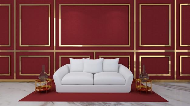 3d render da sala de estar e maquete em fundo vermelho