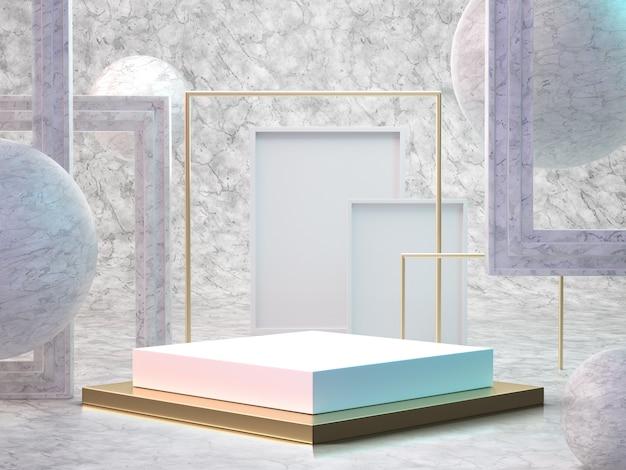 3d render da sala de mármore com pódio