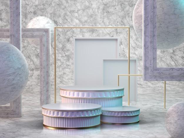 3d render da sala de mármore com pódios