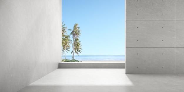 3d render da sala vazia de concreto com grande janela no fundo do mar.
