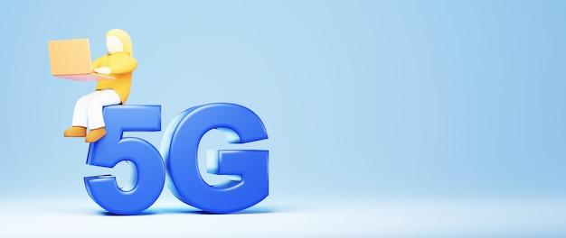 3d render de 5g e uma menina. compras on-line e e-commerce no conceito de negócio da web. transação de pagamento online segura com smartphone.