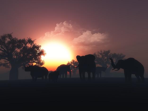 3d render de animais selvagens em uma paisagem do por do sol