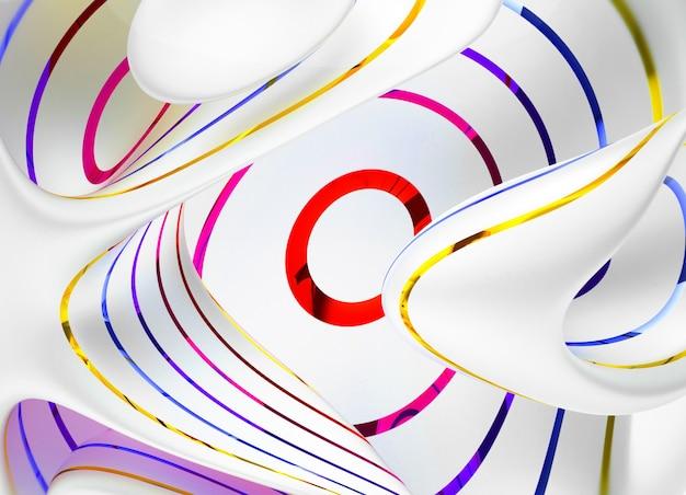 3d render de arte abstrata com curva em material branco fosco com listras paralelas brilhantes nas cores azul vermelho e amarelo