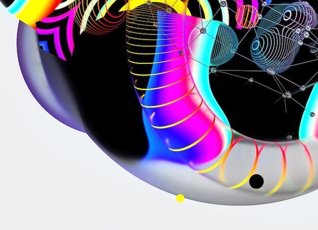 3d render de arte abstrata com esferas de meta bolas de forma orgânica brilhante festiva surreal