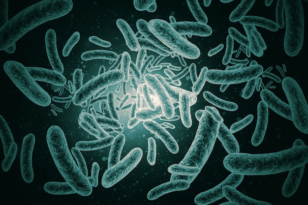 3d render de bactérias, vírus, celular