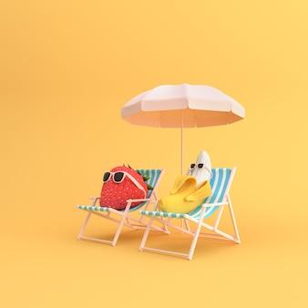 3d render de banana e morango com óculos de sol, sentado em cadeiras ao ar livre.