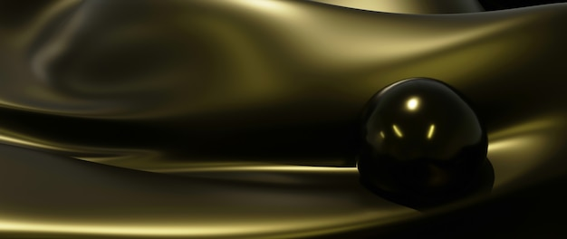 3d render de bola de ouro e seda. abstrato arte moda base. Foto Premium