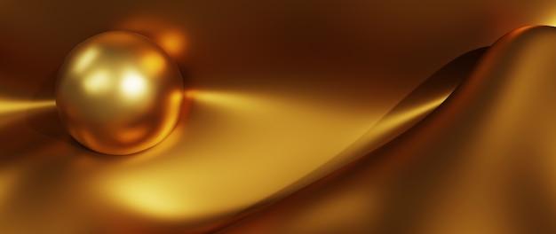 3d render de bola de ouro e seda. abstrato arte moda base.
