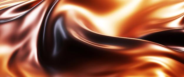 3d render de café escuro e marrom. folha holográfica iridescente. abstrato arte moda base.