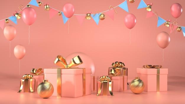 3d render de caixas de presente, guirlandas e balões