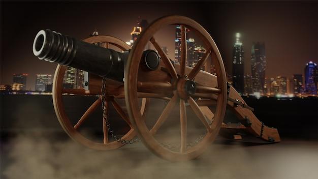 3d render de canhão criativo na frente da cidade em nebuloso obscuro