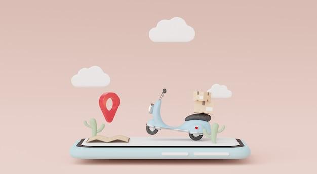 3d render de cartoon mínimo de scooter de entrega de encomendas ou motocicleta. compras online e conceito de entrega rápida