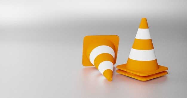3d render de cones de trânsito realistas. conjunto de cones de estrada laranja com listras brancas. renderização 3d