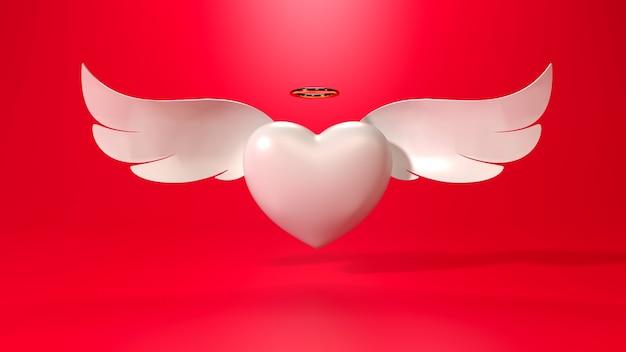 3d render de coração com asas