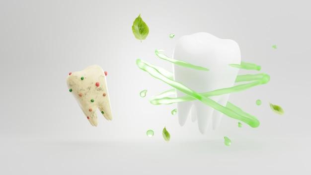 3d render de dentes sujos e cuidados dentários de dentes rodeados por vórtices e ervas