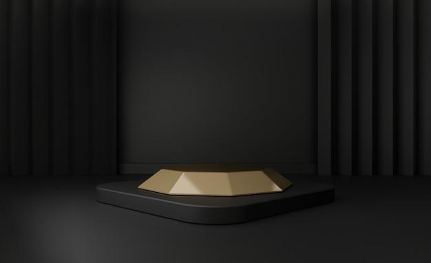 3d render de etapas de pedestal preto isoladas em preto