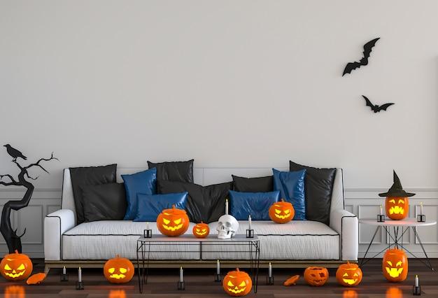 3d render de festa de halloween em abóboras de quarto de cama