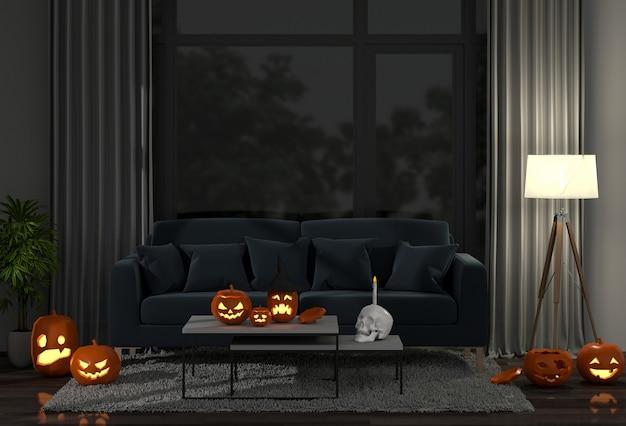3d render de halloween na sala de estar e abóboras