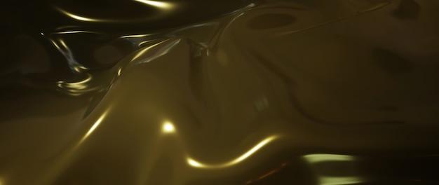 3d render de líquido escuro e amarelo. folha holográfica iridescente. abstrato arte moda base.