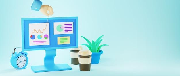 3d render de mão e monitor de computador. negócios on-line e e-commerce no conceito de compras na web. transação de pagamento online segura com smartphone.